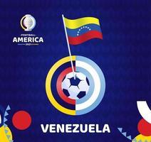 venezuela acena bandeira no mastro e bola de futebol ilustração em vetor futebol América do Sul 2021 argentina colômbia. padrão de torneio abckground