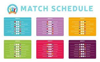 grupos de fase final do torneio de futebol 2020 vector a ilustração das ações com programação de jogos. Tabela do torneio de futebol europeu de 2020 com plano de fundo. vetor bandeiras do país