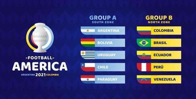 ilustração em vetor futebol América do Sul 2021 argentina colômbia. dois grupos a e grupo b torneio de futebol da fase final