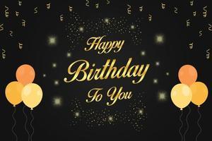 feliz aniversário dourado para você letras com balões e confetes vetor