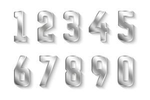coleção de números de prata 0 a 9 vetor