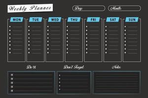 modelo de planejador de programação semanal vetor