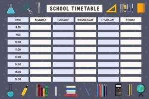 calendário de educação escolar com elementos escolares vetor