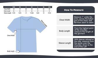 modelo de guia de medição de tamanho de camiseta vetor