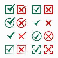 coleção de marca de seleção verde e cruz vermelha vetor