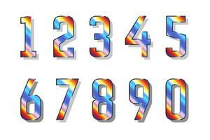 coleção de números cromáticos 0 a 9 vetor