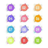 marcadores de círculos geométricos coloridos de um a doze vetor