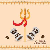Cartão Maha Shivratri com Lord Shiva Trishul vetor