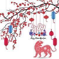 feliz ano novo chinês 2022 - ano do tigre. modelo de design do banner do ano novo lunar. vetor