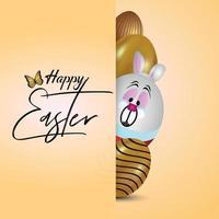 cartão de felicitações de dia de páscoa com ovo de páscoa e coelho vetor