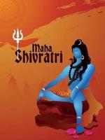 Fundo criativo maha shivratri com ilustração de Lord Shiva vetor
