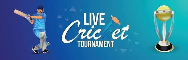 Banner de jogo de torneio de críquete com fundo de estádio vetor