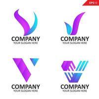 coleção colorida inicial modelo de design de logotipo com letra v vetor