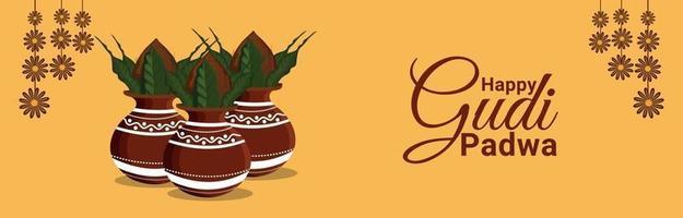feliz celebração do festival ugadi com vaso de adoração vetor
