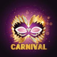 máscara dourada de carnaval com design de conceito bonito de penas e plano de fundo vetor