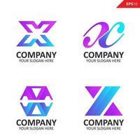 coleção colorida inicial x modelo de design de logotipo de carta vetor