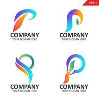 coleção colorida inicial modelo de design de logotipo de letra p vetor