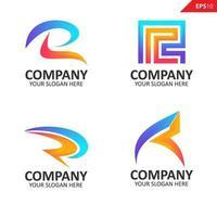 coleção colorida inicial r letra modelo de design de logotipo vetor