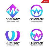 coleção colorida inicial w letter modelo de design de logotipo vetor