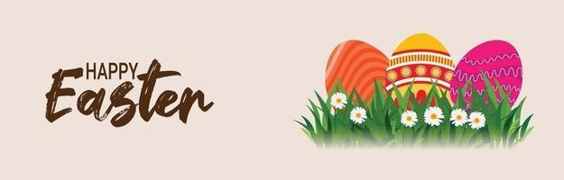 banner feliz dia de páscoa com ovo de páscoa e coelho vetor
