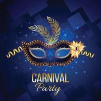 pôster ou cartão comemorativo do evento de carnaval em fundo azul vetor