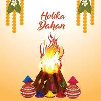 holika dehan pote de lama com cores realistas e fogo ósseo realista vetor