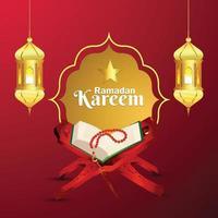 Ramadan Kareem ou eid Mubarak islâmico festival cartão comemorativo vetor