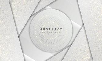 luxo e textura de conceito moderno com decoração de elemento de pontos de brilhos de prata. fundo abstrato branco com camadas de sobreposição de formas de papel. vetor