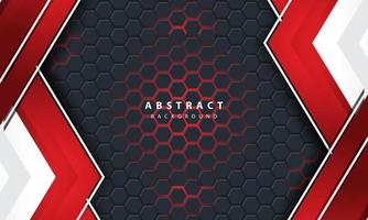 Fundo hexagonal 3D abstrato luz vermelha com formas de moldura vermelha e branca. vetor