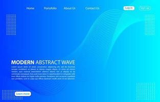 onda abstrata moderna background.landing página onda abstrata design.blue aplicativos e sites do modelo. vetor