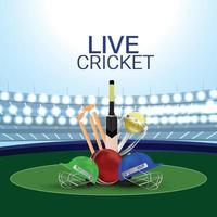 cenário de estádio de críquete ao vivo com equipamento de críquete vetor