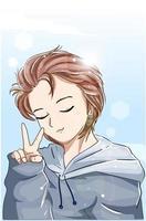 menino bonito com cabelo castanho e ilustração dos desenhos animados de jaqueta azul vetor