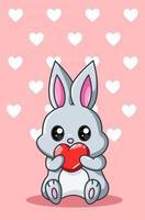 ilustração dos desenhos animados de coelhinho com coração kawaii vetor