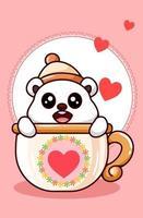 urso polar kawaii usando gorro na xícara na ilustração de desenho animado do dia dos namorados
