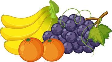 grupo de frutas isoladas em fundo branco vetor