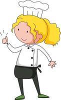 pequeno chef personagem de desenho animado isolado vetor
