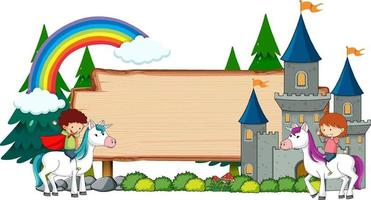 banner vazio com personagem de desenho animado de conto de fadas e elementos isolados vetor