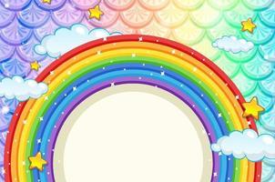 banner em branco com moldura de arco-íris em fundo de escamas de peixes coloridas vetor