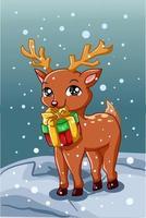 um veado pequeno e fofo carregando um presente de natal no inverno vetor