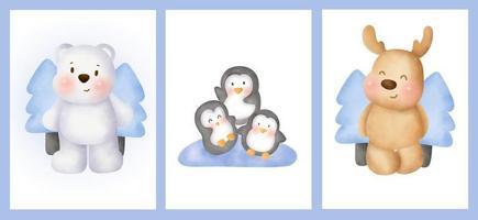 conjunto de cartões de aniversário com animais fofos do Ártico no estilo de aquarela. vetor