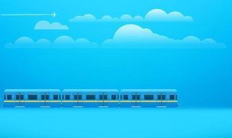 trem retrô a caminho. ilustração com nuvens vetor