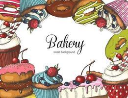 vector design de padaria doce em branco. mão desenhada donuts, bolo e cupcakes. design de deserto para menu, publicidade e banners. esboço, letras.