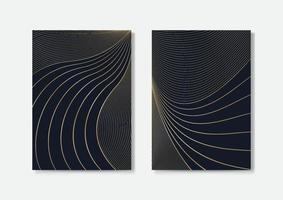 design de capas de luxo, padrões abstratos de curvas de linhas douradas, ilustração vetorial de modelos a4 vetor