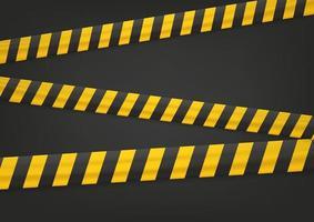 fita amarela e preta em fundo preto vetor