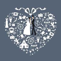 cartão de casamento com símbolos brancos, noiva e noivo. ilustração vetorial. vetor