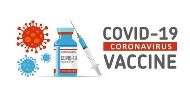 vacinação do vírus corona covid-19 com frasco de vacina e ferramenta de injeção de seringa vetor