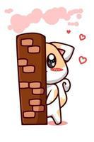 um gato tímido escondido atrás de uma parede com ilustração de desenho animado de amor