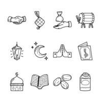 pacote de ícones eid mubarak desenhado à mão vetor