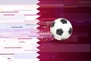 bola de futebol no fundo da bandeira do Qatar vetor