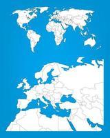 modelo de infográfico de mapa mundial com área da europa selecionada vetor